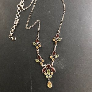 Silver- 3 gemstone colored necklace -💫exquisite
